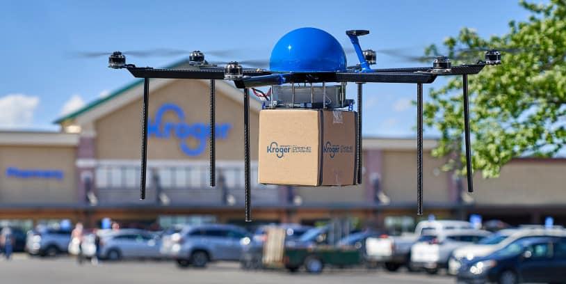 entrega de comestibles con drone