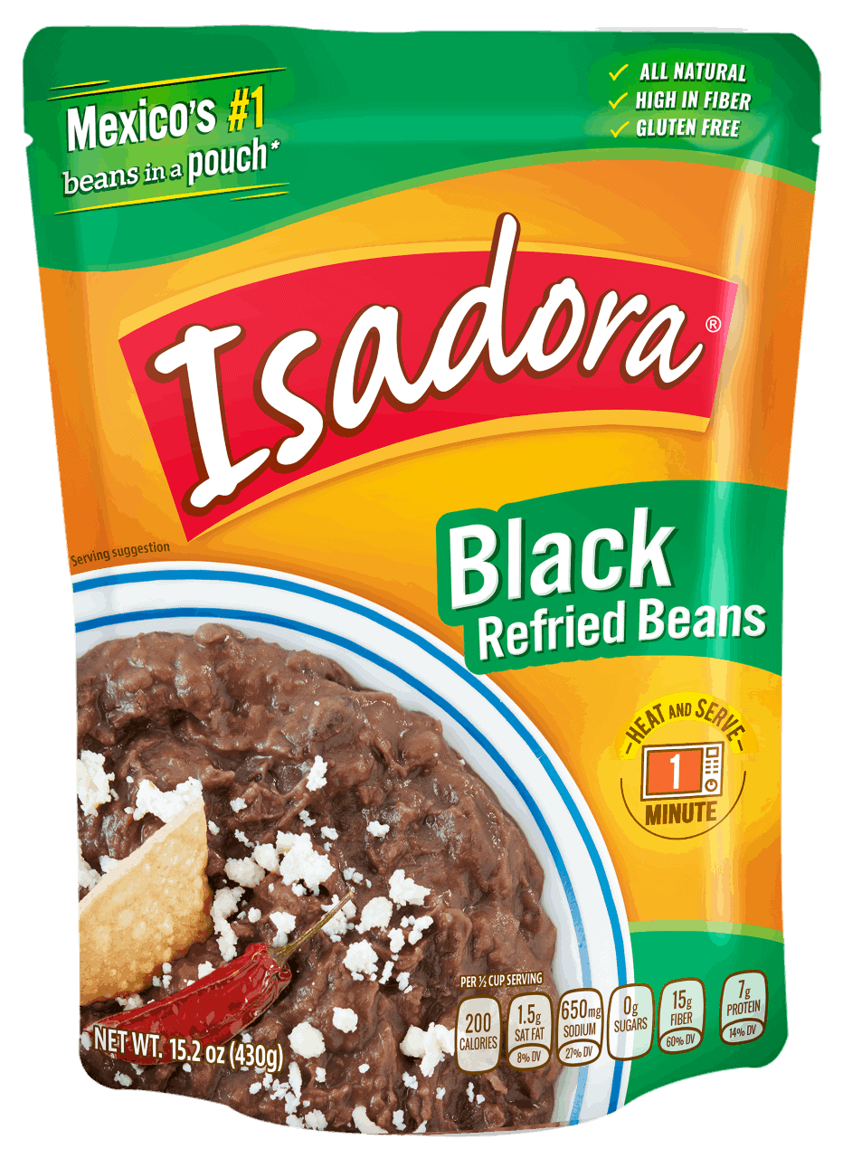 isadora black refried beans